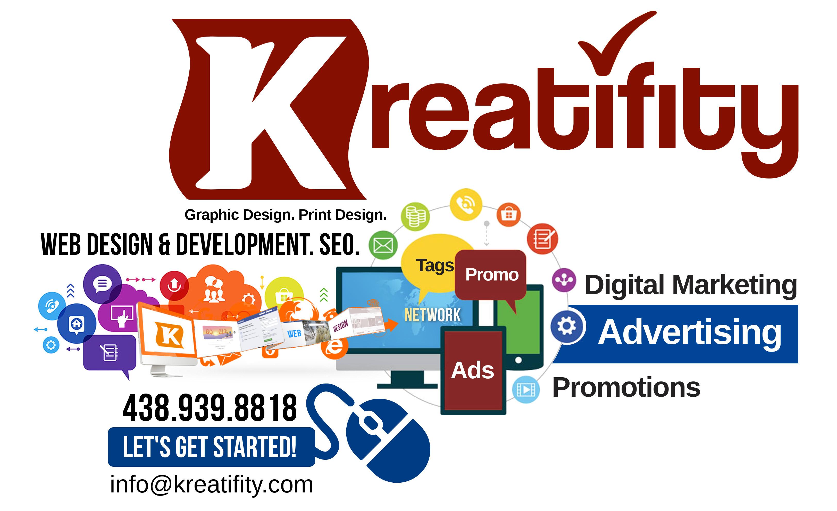 KREATIFITY MARKETING SERVICES – Web Site & Print Design